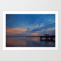 sunset, water, nature, sky, pier, ft myers, florida, silhouette