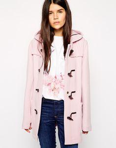 Pink duffle coat hood winter style
