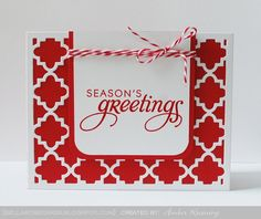 clean design Christmas card ... handmade ... red + white ... quatrefoil cover plate die cut ... sharp, graphic feel .... (except for the twine ...)