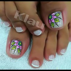 Uñas modelo Pedicure Designs, Pedicure Nail Art, Toe Nail Designs, Toe Nail Art, Acrylic Nails, Pretty Toe Nails, Cute Toe Nails, Gorgeous Nails, Summer Toe Nails