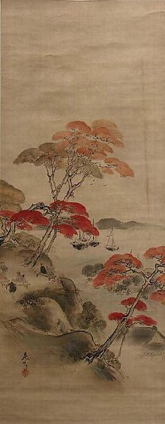 Kai'anji temple was a spot in Edo famous for its autumn foliage. The temple is shown at bottom right, and the hill within the temple site, depicted at left, is lent color by tall maples with red leaves Japanese Artwork, Japanese Painting, Japanese Prints, Asian Love, Art Japonais, Japan Art, Art Pictures, Art Pics, Chinese Art