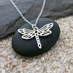 Dragonfly Necklace Sterling Silver Dragonfly Charm by MahaloSpirit