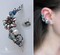Silver ear cuff and stud Caribbean flower by JSjewelry on DeviantArt