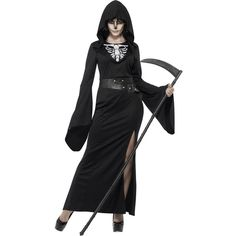 Lady Reaper Costume ($37) ❤ liked on Polyvore featuring costumes, adult women costumes, plus size womens costumes, scary halloween costumes, womens halloween costumes and adult plus size costumes