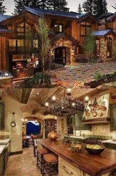 Rustic Mediterranean Farmhouse Exterior Design – Best Home Decorating Ideas - Page 51 Chalet House, Rustic Home Design, Mediterranean Decor, Mediterranean Architecture, Log Cabin Homes, Log Cabins, Mountain Homes, House Goals, Home Fashion