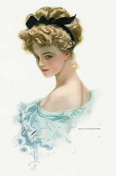 Harrison Fisher's illustration of Dorothy Gibson -- silent film actress and Titanic survivor -- she made the first film ever about the Titanic