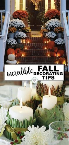 Fall is the perfect time of year with the temperatures cooling and fresh fruits and vegetables in abundant supply. If you love the autumn colors as much as I do, you will love this collection of incredible fall decorating tips. From pumpkins, candles and corn, you will be sure to find the perfect decorations for your porch or inside your home. #fall #decor #tips #pumpkin #thanksgiving #diy White Pumpkin Centerpieces, Pumpkin Candles, Fall Home Decor, Autumn Home, Fall Decor For Porch, Autumn Fall, Porch Decorating, Decorating Tips, Holiday Decorating