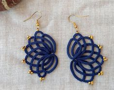 Navy blue tatted lace earrings , tatting lace , statement jewelry , tatted jewelry , frivolite , lace jewelry