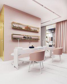 Interior of the Beauty Salon in Tychy Foorma Home Nail Salon, Nail Salon Design, Nail Salon Decor, Salon Interior Design, Beauty Salon Design, Beauty Salon Interior, Studio Interior, Modern Nail Salon, Beauty Room Salon