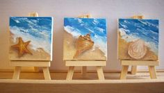 Shell Trio - Mini Paintings of Shells at the Ocean's Edge by Judy Batterson