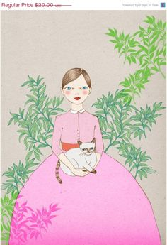 SALE Siamese Cat poster artwork print of original by IrenaSophia