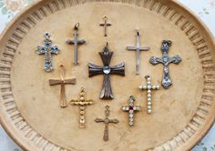 collection of vintage and antique crosses
