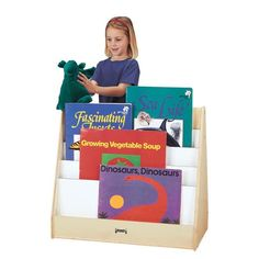 Jonti-Craft - Pick a Book Stand - 2 Sided - Big books on one side, regular books on the other. Four big book shelves and four regular book shelves, each approximately deep. Preschool Furniture, Kids Furniture, Bedroom Furniture, Honeycomb Shelves, Storing Books, Thing 1, Book Stands, Play Spaces, Growing Vegetables