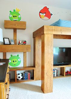 Now thats just cool!....even without the angry birds theme, the loft bed is awesome!! (House Crashing: John And Sherry Plus 8 | Young House Love)