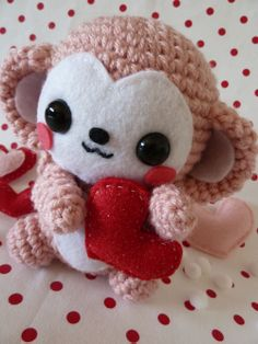 Valentine's Day monkey amigurumi. No pattern, but available for purchase.