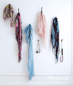 Scarf and jewelry wall hooks