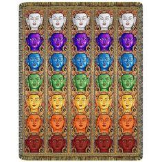 Buddha Faces Chakra Ladder Tapestry Throw Blanket  #yoga #blanket #healing #meditation #home #homedecor #decorating #reiki #spa #salon #healing #buddha #chakraladder #chakra