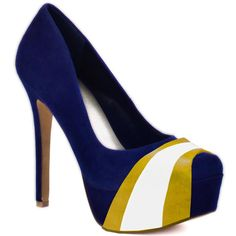 HERSTAR™ Dark Blue Yellow White Team Color Suede Pumps. Use promo code KKM$10 to save $10 off $79.99 at checkout!