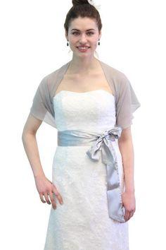 Chiffon Bridal Wrap Wedding Shawl  Gray 5139CH by TionDesign, $18.99