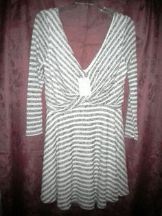 NWT FREE PEOPLE MAVERICK Deep V Plunge Dress sz M Cream Combo Grey F734Z319 $128 #FreePeople