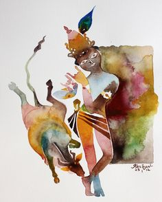 Krishna for today. New Forever series. Watercolour.