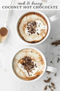 This boozy coconut milk hot chocolate is silky and rich. Three types of chocolate give it a deeply intense flavor, and it's spiked with Cognac to warm you up. Flake Chocolate, Spiked Hot Chocolate, Coconut Hot Chocolate, Chocolate Recipes, Coconut Milk Pudding, Homemade Mocha, Vanilla Whipped Cream, Yummy Drinks, Refreshing Drinks