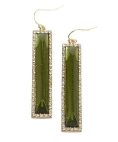 Danielle Stevens green crystal and metal rectangular drop earrings