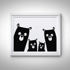 Bear Family Modern Nursery wall art Large Printable! INSTANT DOWNLOAD digital files! Stop waiting for shipping – these files are ready to download immediately! What's so great about digital prints? Well, there's no need to wait days for the mail to come – all files are available once your