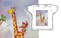 Monkey jumping on a giraffe by JoAnnFineArt