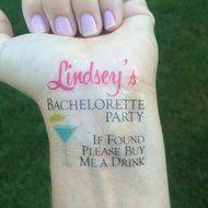Martini Bachelorette Party Temporary Tattoo