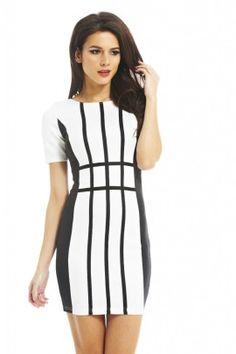 Striped Illusion Dress shopmodmint.com