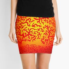 'Eye of the Sun - Doodle' Mini Skirt by LeonKramer Sun Doodles, Color Blending, Knitted Fabric, Chiffon Tops, Mini Skirts, Eyes, Printed, Knitting, Awesome