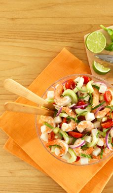 Shrimp and Jicama Summer Salad (the lime juice makes ALL the difference) #Recipe #Summer #EatingLight