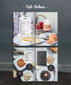 Photo & design for restaurant menu cafe Delmar. Still life for menu, photo shooting and layout design.