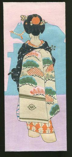 Kobayashi Kaichi Japanese Woodblock Print Envelope Unused Maiko Showa 1946 | eBay