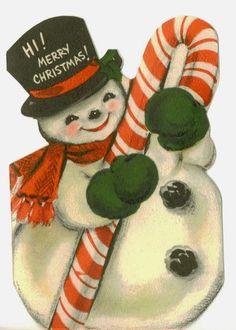 vintage Hallmark Christmas card - jolly snowman