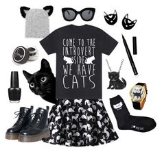 """""""Introverted Cat Lady"""" by lauralaurahale ❤ liked on Polyvore featuring Eugenia Kim, CÉLINE, Animal Planet, Bobbi Brown Cosmetics, Sigma Beauty and OPI"""