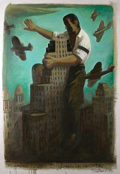 """Daniel Santoro  """"El descamisado gigante expulsado de la ciudad""""  Oleo s/ lienzo. 140 x 90 cm.  2008"""