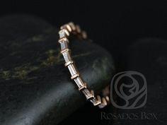 Baguettella 14kt stieg Gold dünne horizontale Baguette Diamant