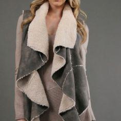 Draped shearling vest