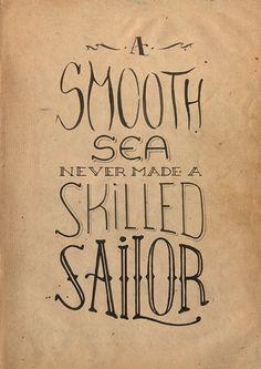 Hand drawn type / typography / graphic design / design / sailor / navy / ink