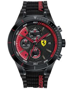 Scuderia Ferrari Men's Chronograph RedRev Evo Black Silicone Strap Watch 46mm 830260 - Men's Watches - Jewelry & Watches - Macy's