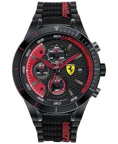 Scuderia Ferrari Men's Chronograph RedRev Evo Black Silicone Strap Watch 46mm 830260 - Men's Watches - Jewelry & Watches - Macy's