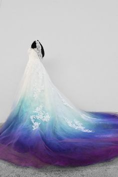 Bridal Gowns Colored by Taylor Ann Art - Gallery Ombre Wedding Dress, Blue Wedding Dresses, Purple Wedding, Bridal Dresses, Boho Wedding, Wedding White, Peacock Wedding Colors, Colored Wedding Gowns, Wedding Rustic
