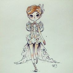 """Roy Fish """"Skeleton Skeleton dress HAPPY HALLOWEEN!! And thank you so much for all!! Hugs!!"""" :D #inktober #inktober2014 #drawlloween #ink #skeleton #dress #fashion #model #doodle #drawing #draw #esqueleto #lastday #girl #moda"""