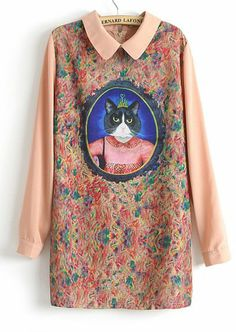 SheIn offers Pink Long Sleeve Cat Queen Print Straight Dress   more to fit  your fashionable needs. aa30ace90f