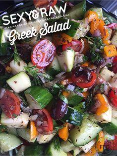 "Feelin' Mediterranean? This is such an E-Z Salad to literally ""toss"" together! It's RAW, Organic, Vegan, Paleo, Gluten-Free, Sugar-Free etc Greek Stuffed Peppers, Vegan Greek, Raw Vegan Recipes, Paleo, Greek Salad Recipes, Onion Relish, Fast Easy Meals, Caprese Salad, Food Print"
