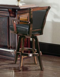 Swivel Bar Stools with Arms | Bar Stool w Arms and Swivel Upholstered Seat ( Seating & Waymar - Wood Swivel Bar Stools with Arms - The