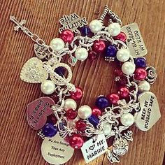 Marin Wife Bracelet This delicate charm bracelet is red, white, and blue. The charms can be left as is or can be changed to match any branch-specify with a custom order if you would like charms changed!