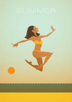 Stanley Chow Illustration of Manchester England (Summer) Summer Of Love, Summer Time, Summer Beach, Stanley Chow, Summer Prints, Summer Breeze, Beach Art, Art Plastique, Strand